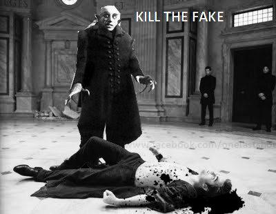 KILL THE FAKE. Nuff Said.. looks shopped, can tell by the pixels twilight edward Cullen one last Shot dead nosferatu blood Vampire horror kill the fake