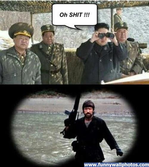 Kim Jong Un meets his match. facebook.com/DoILookLikeIGiveAFunk.. chuck norris makes them afraid....but R Lee Ermey makes them out their hearts terrified Chuck Norris kim jong un North Korea