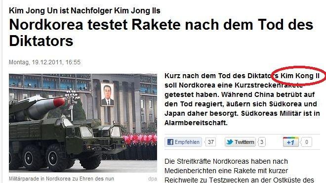 Kim Kong. According to a german newspaper he is now Kim Kong! All glory to the mighty Kong! Source: www.focus.de/politik/ausland/kurz-nac.... Kim Jong ist Kim J kim jong il Kim Kong