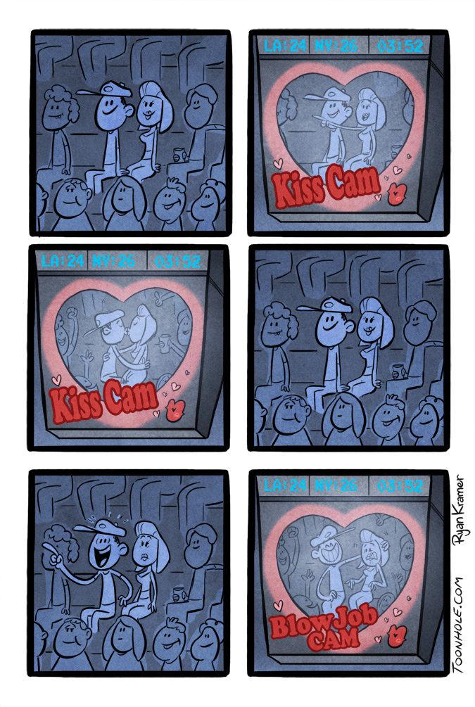 Kiss Cam. Stadiums had to increase ticket sales. www.TOONHOLE.com.. bans internally toonhole toon cartoon comic webcomic gag kiss cam Kiss blow job Sports jumbo tron