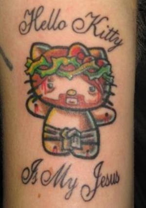 Kitty Worship. .. That's uhh...creepy. hello kitty Jesus Tattoo