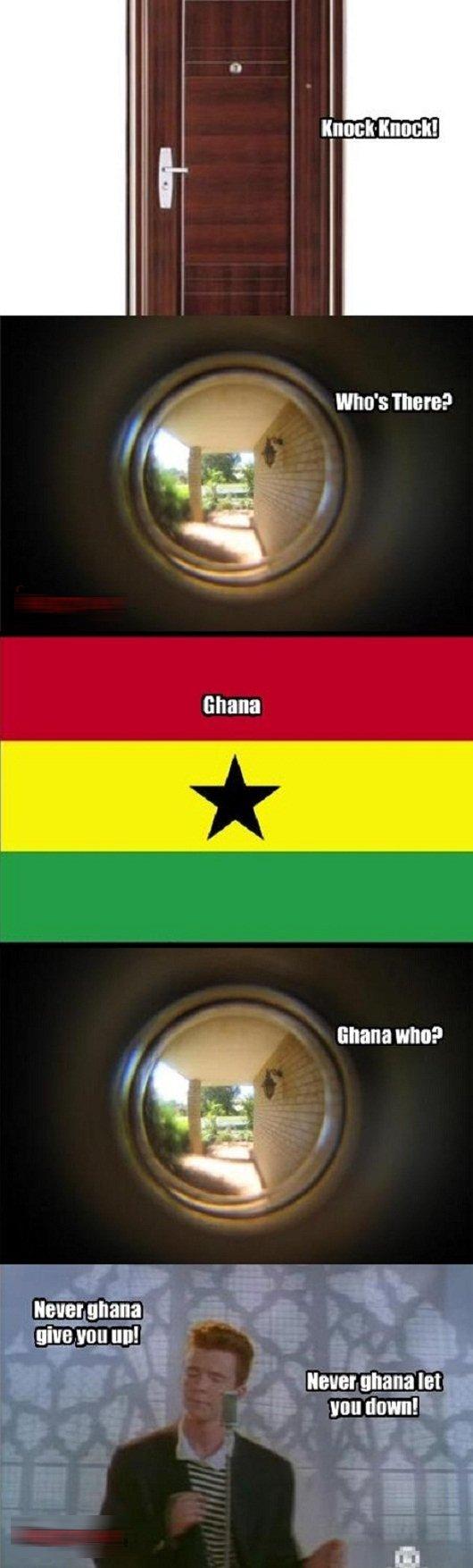 Knock knock!. . Who': There? lall,! Brana Ghana who? ghana. let. you sly ... rick roll knock