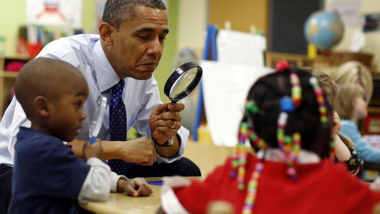 Obama visiting kindergarten. Not bad. obama
