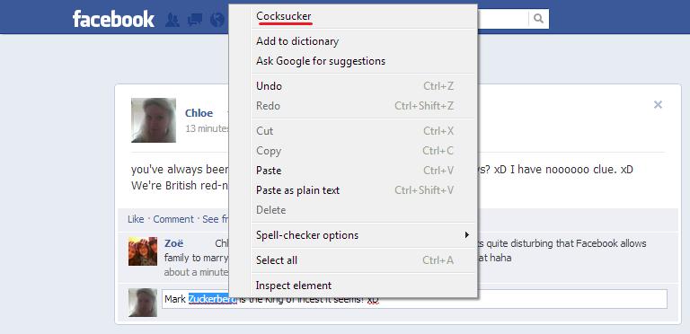 Oh Google Chrome!. My laptop must really hate Mark Zuckerburg!. deer Add to dictionary Ask suggestions U n d o Ctrl + E Redo Ctrlc Shifter Cut Copy you' alwayse funny facebook auto correct Mark Zuckerburg lol