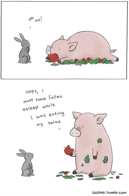 """OH NO!"". . pig Rabbit oh no Apple salad funny lol haha"