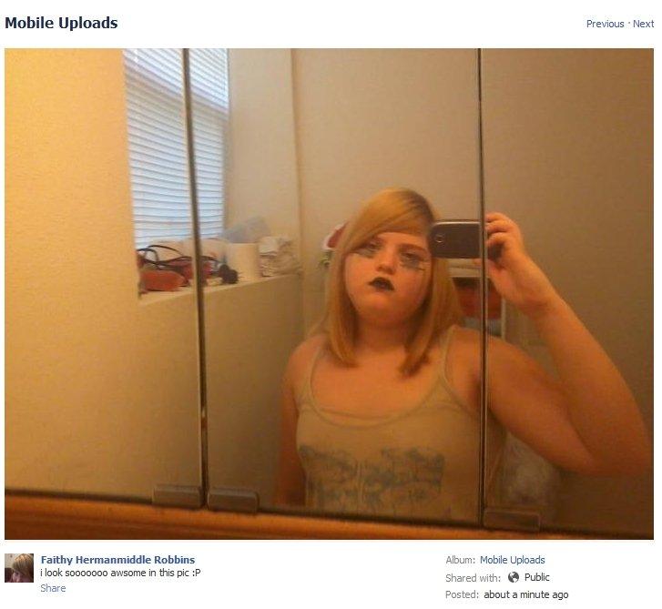 OH GOD!. She's actually serious. Mobile Uploads F' ' u' irn. - Ema. Mir. Faith? niitl-[ He Robbin's M: -bile 'rs' alist MIB awseme in this pic , Shared Bra B Pu children these d