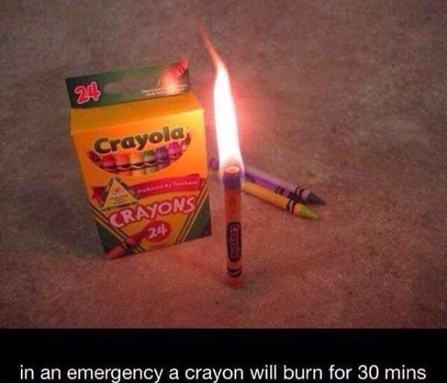 ...okay. . in an emergency a crayon will burn far 30 mins. how long will they last if it isn't an emergency? crayon