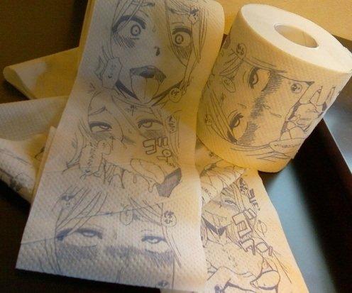 Otaku toilet paper. Might be from TSF Monogatari. fap