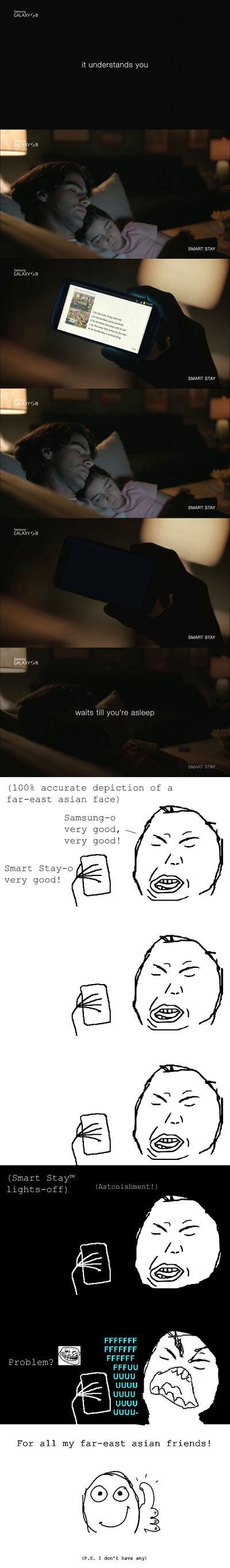 Samsung smart stay in far-east. Please don't cook my dog for this.. Asian samsung galaxy john wayneo sleep eyes
