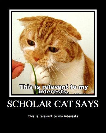 Scholar Cat. Scholar cat says. SCHOLAR CAT SAYS This is relevant tn my interests Scholar cat