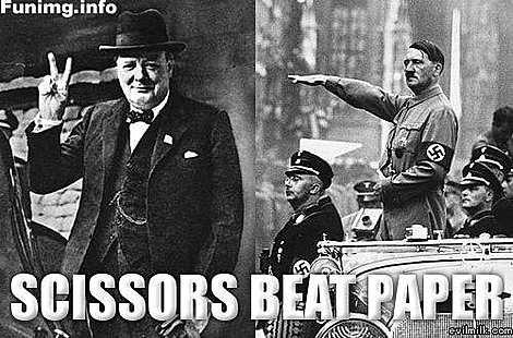 scissors beat paper.. scissors beat paper.. jews rock....... Hitler Churchill Scissors paper