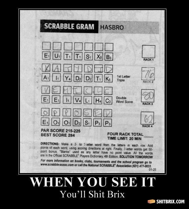 "Scrabble Gram. I'm stuck, can anybody help?. PAR scans assas . YOU IT YOLA"" 11 Shit palm. So epic! answer is subtex scrabble gram"
