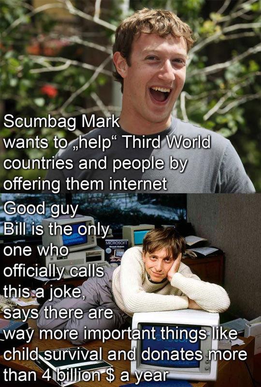 """Scumbag Zuckerberg vs. Good Guy Gates…. Scumbag Zuckerberg vs. Good Guy Gates… . Scumbag may wants t;; fjhelp"""" """"'shirt. . liy. faring them internet .."""" Bill is  funny"""