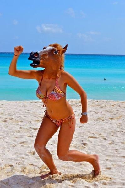 sea around. sea around.. its a sea-horse horse mask