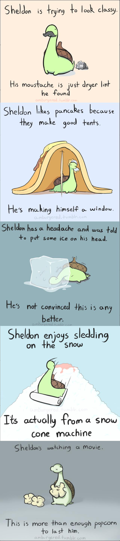Sheldon the tiny dinosaur. All credit to Amburgered. Sheldon dinosaurs adorablness
