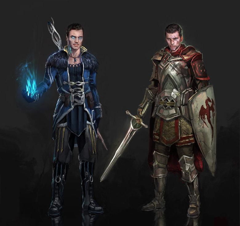 Shepard and Kaidan Alenko Dragon Age. Credits to AndrewRyanArt Source:dunechampion.deviantart.com/art/Drago..... Kaidan, stop stealing Anders' style. pure awesome mass effect Commander Shepar Kaidan Alenko