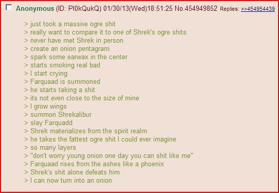 Shrek. Shrek is love. a massive ogre shit really want to compare it to one of Shrekis ogre shits never have met Shrek in person create an onion pentagram spark  Shrek