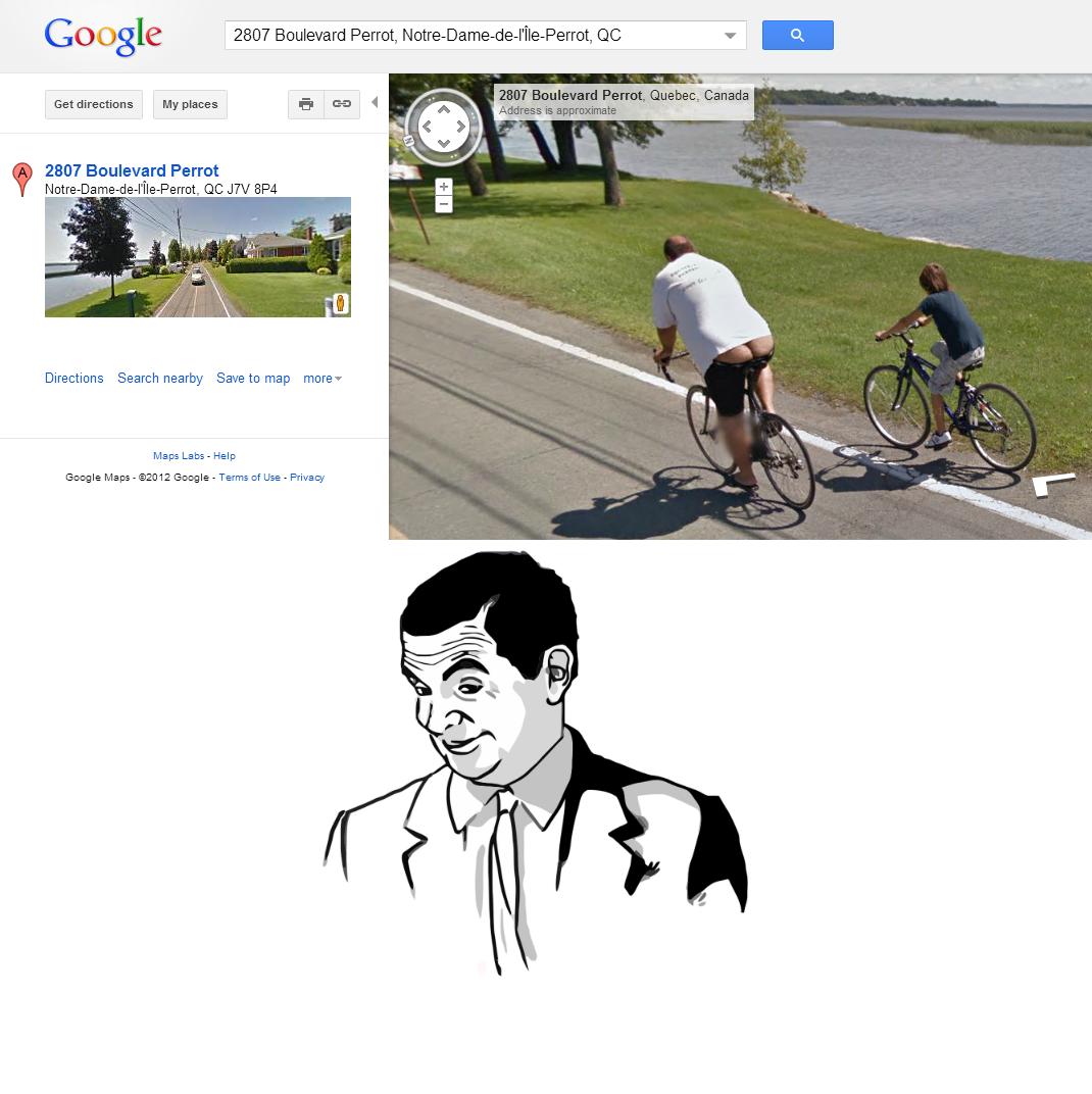 "Somebody managed to ""crack"" google maps. Link to location: maps.google.ca/maps?q=2807+Boulevard+...2C%2C0%2C23.63&cbll=45.351971%2C-73.953205&hnear=2807 Butt Crack Google maps"