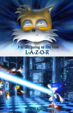 Sonic + Shoop da Whoop. HES A FIRIN HIS LAZR!!!!.. I just realized...... poor Shadow..... oh well. SHOOP DA WHOOP!!!!!! Sonic the Hedgeh shoop da whoop