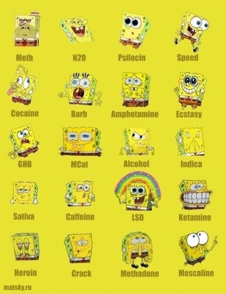 Spongebob on Drugs. Meth, LSD, PCP, etc... what, no bath salts? Crack spongebob needs help