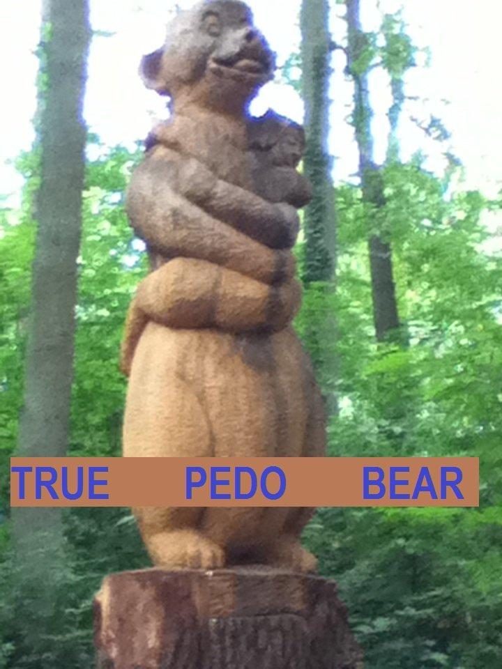 Statue in a forest park in Belgium. . pedo Bear