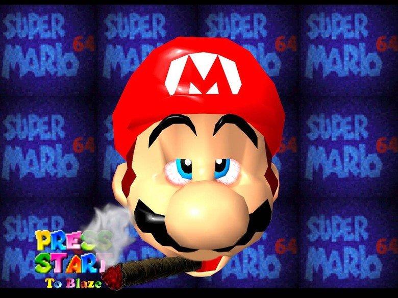 Stoned Mario. Stoner Mario done by myself in Photoshop enjoy. Original picture is a screen shot of the mario heard from mario 64. Mario (C) Nintendo.. Itsa me Mario weed pot blunt b