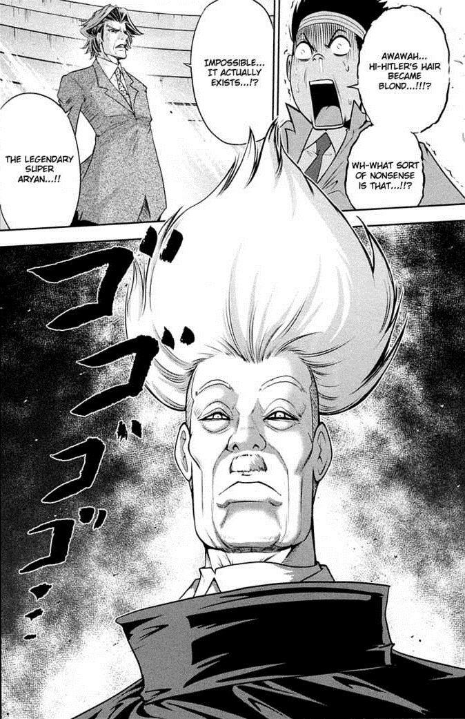Super Aryan Hitler manga. Hitler uses the Legendary Super Aryan power. From the manga Mudazumo Naki Kaikaku. The worst manga I've ever read, but it has it's mom Hitler manga WTF super aryan