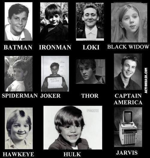 "Super Kids. . BATMAN IRONMAN LOKI "" w Atrii Lt N JOKER = THOR CAPTAIN "" AMERICA. Baby Tom looks so adorable. superheroes jarvis Marvel DC Boobs batman Spiderman Hulk thor Captain America joker"