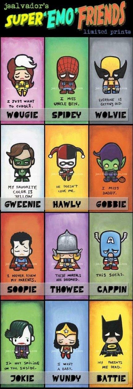 Super Emo Pals. All you favorite super emos, please rate!.. Chibi emos Harley Quinn! : D Emo