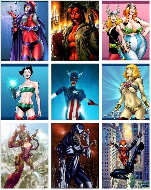 Superheroes Women Versions. .. Guess you could say female Magneto is very attractive superheros Spiderman iron man Captain America Hellboy venom asterix funny fun joke