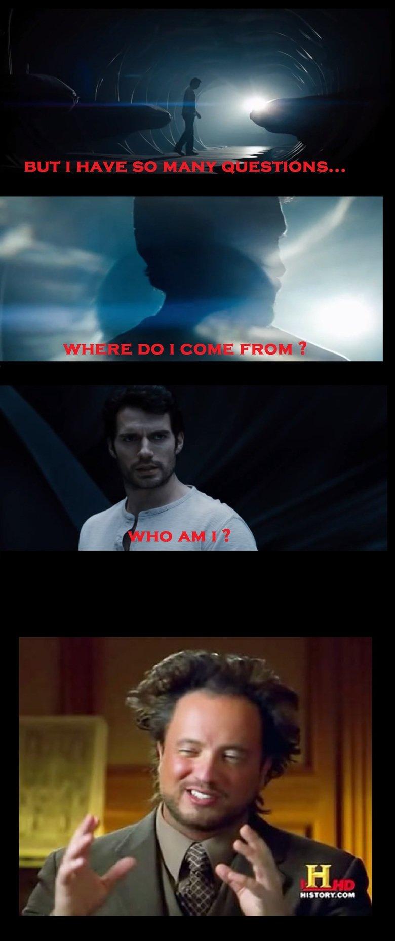 Superman's Origins Story. Got this idea while watching Man of Steel today. Superman man of steel derp aliens meme
