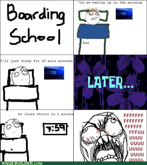 Waking up for Boarding school. . Rage Face boarding school waking up