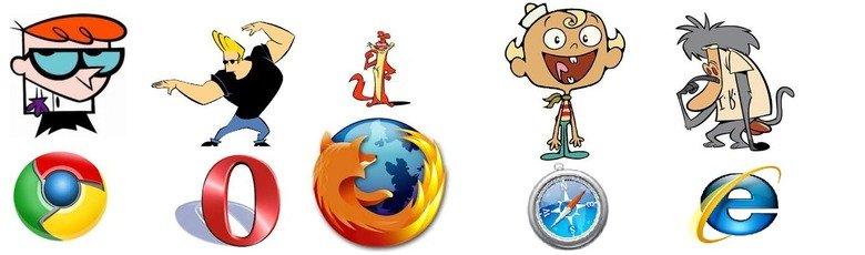 Web Browsers as Cartoon Characters. . Web Browsers as Cartoon Characters