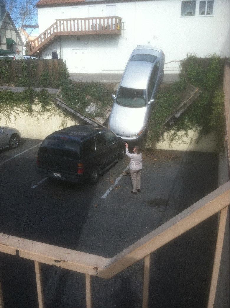 Women Drivers. .. That's just impressive women driving bad parking