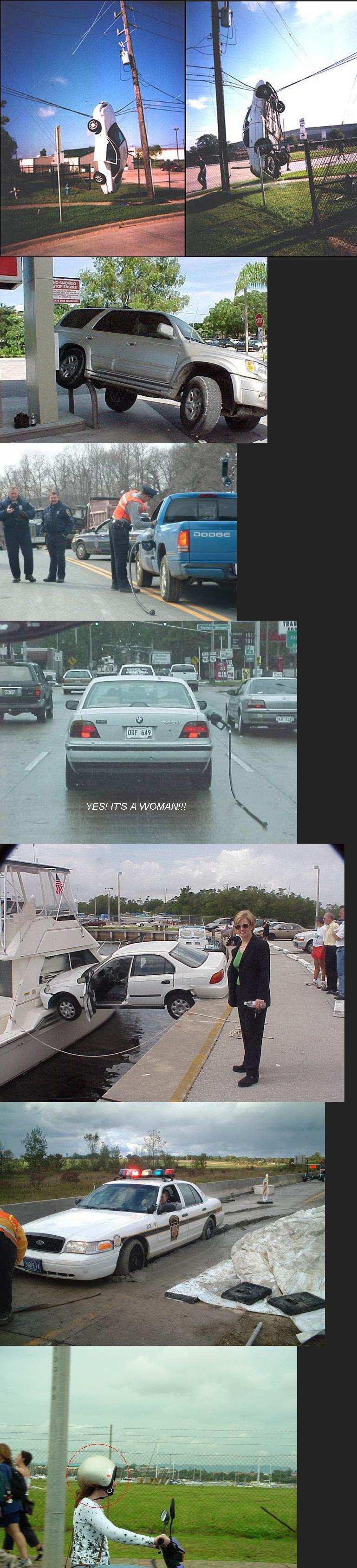 Women Drivers. Definitely women drivers. And no I am not sexist it is just a joke... last one i was liek HURRRR DURRRR women Drivers belong in the kitchen lol funny WTF