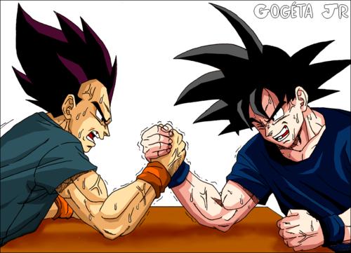 Worlds never-ending arm wrestling match. vageta vs goku....stalemate.....for years.. Worlds never-ending arm wrestling match vageta vs goku stalemate for years